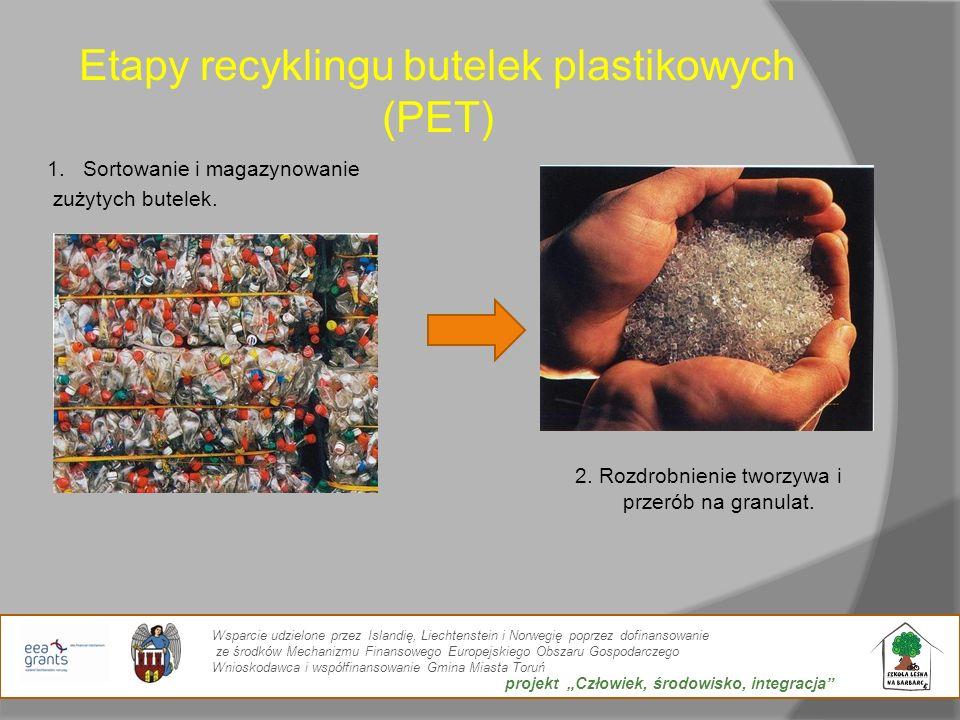Etapy recyklingu butelek plastikowych (PET) 1.Sortowanie i magazynowanie zużytych butelek. 2. Rozdrobnienie tworzywa i przerób na granulat. Wsparcie u