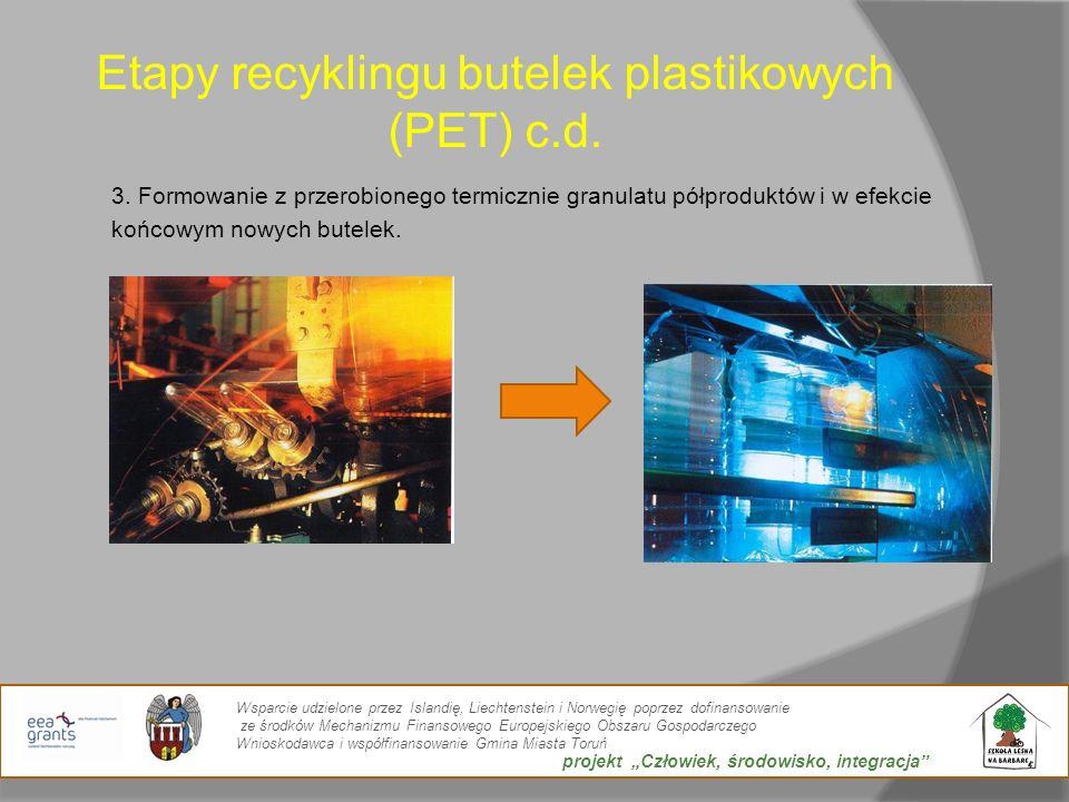 Etapy recyklingu butelek plastikowych (PET) c.d. 3. Formowanie z przerobionego termicznie granulatu półproduktów i w efekcie końcowym nowych butelek.