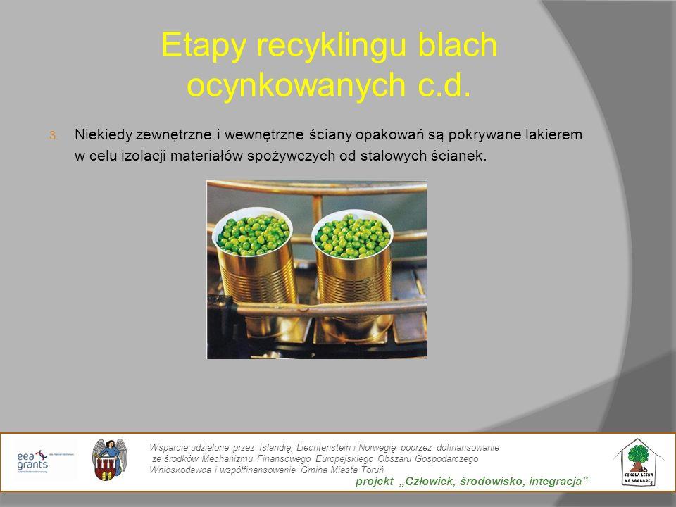 Etapy recyklingu blach ocynkowanych c.d. 3. Niekiedy zewnętrzne i wewnętrzne ściany opakowań są pokrywane lakierem w celu izolacji materiałów spożywcz