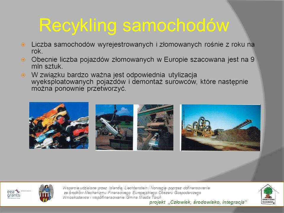 Recykling samochodów Liczba samochodów wyrejestrowanych i złomowanych rośnie z roku na rok. Obecnie liczba pojazdów złomowanych w Europie szacowana je