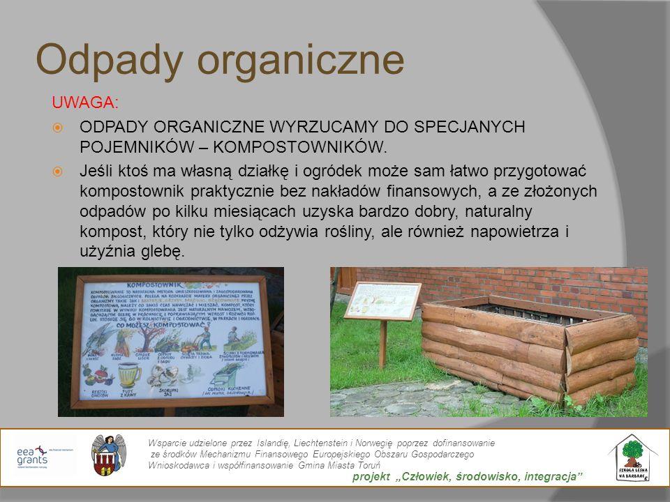 Odpady organiczne UWAGA: ODPADY ORGANICZNE WYRZUCAMY DO SPECJANYCH POJEMNIKÓW – KOMPOSTOWNIKÓW. Jeśli ktoś ma własną działkę i ogródek może sam łatwo