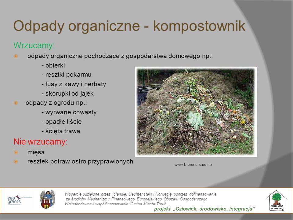 Odpady organiczne - kompostownik Wrzucamy: odpady organiczne pochodzące z gospodarstwa domowego np.: - obierki - resztki pokarmu - fusy z kawy i herba