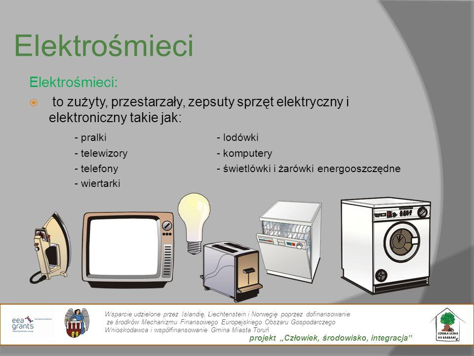 Elektrośmieci Elektrośmieci: to zużyty, przestarzały, zepsuty sprzęt elektryczny i elektroniczny takie jak: - pralki- lodówki - telewizory- komputery