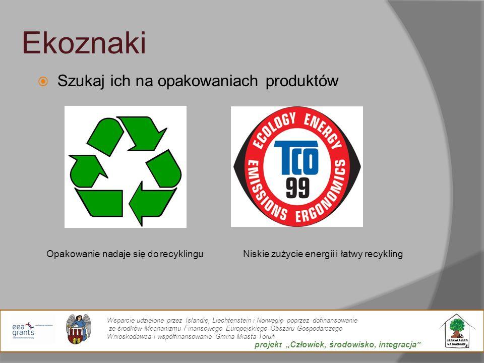 Ekoznaki Szukaj ich na opakowaniach produktów Opakowanie nadaje się do recyklinguNiskie zużycie energii i łatwy recykling Wsparcie udzielone przez Isl