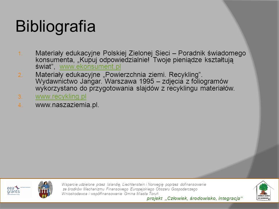 Bibliografia 1. Materiały edukacyjne Polskiej Zielonej Sieci – Poradnik świadomego konsumenta, Kupuj odpowiedzialnie! Twoje pieniądze kształtują świat