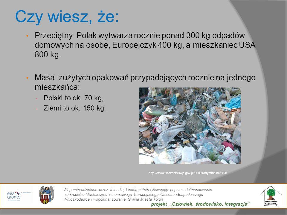 Czy wiesz, że: Przeciętny Polak wytwarza rocznie ponad 300 kg odpadów domowych na osobę, Europejczyk 400 kg, a mieszkaniec USA 800 kg. Masa zużytych o