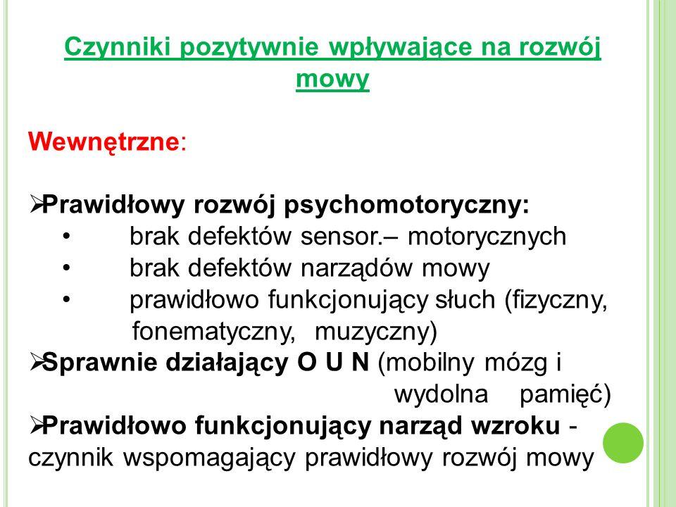 Czynniki pozytywnie wpływające na rozwój mowy Wewnętrzne: Prawidłowy rozwój psychomotoryczny: brak defektów sensor.– motorycznych brak defektów narządów mowy prawidłowo funkcjonujący słuch (fizyczny, fonematyczny, muzyczny) Sprawnie działający O U N (mobilny mózg i wydolna pamięć) Prawidłowo funkcjonujący narząd wzroku - czynnik wspomagający prawidłowy rozwój mowy