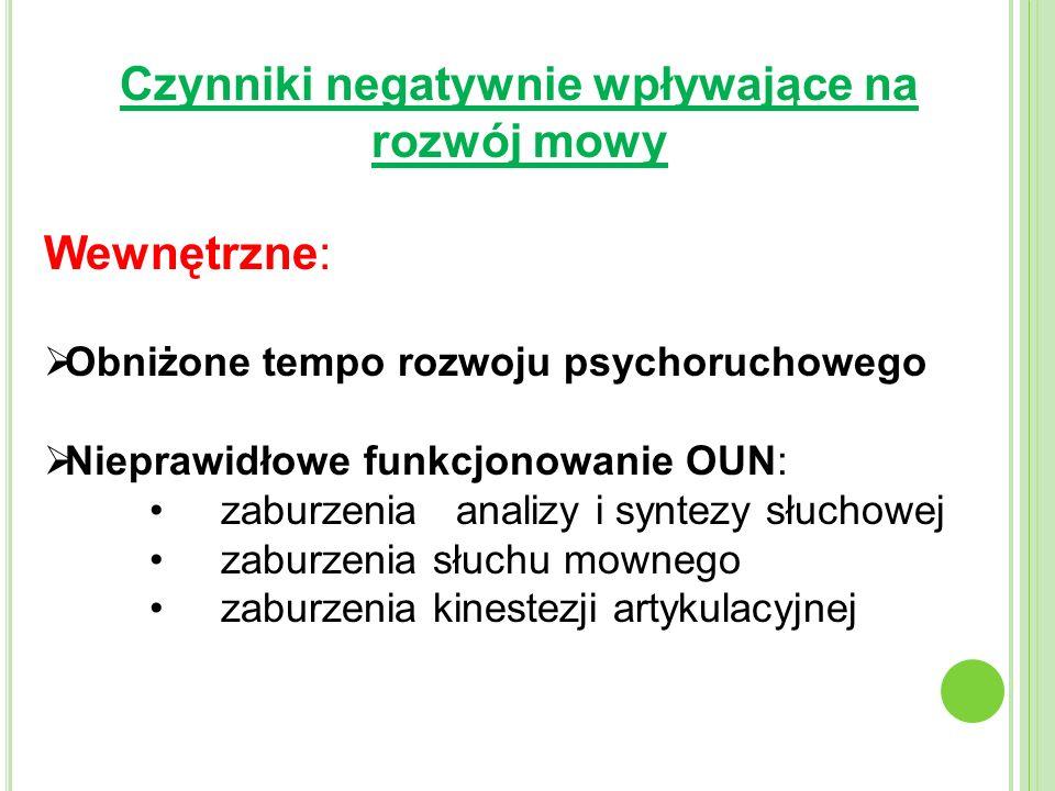 Czynniki negatywnie wpływające na rozwój mowy Wewnętrzne: Obniżone tempo rozwoju psychoruchowego Nieprawidłowe funkcjonowanie OUN: zaburzenia analizy