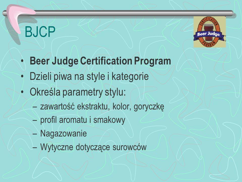 BJCP Beer Judge Certification Program Dzieli piwa na style i kategorie Określa parametry stylu: –zawartość ekstraktu, kolor, goryczkę –profil aromatu