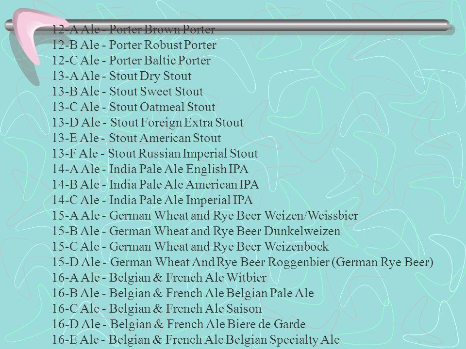 12-A Ale - Porter Brown Porter 12-B Ale - Porter Robust Porter 12-C Ale - Porter Baltic Porter 13-A Ale - Stout Dry Stout 13-B Ale - Stout Sweet Stout