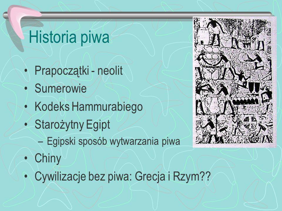 Historia piwa Prapoczątki - neolit Sumerowie Kodeks Hammurabiego Starożytny Egipt –Egipski sposób wytwarzania piwa Chiny Cywilizacje bez piwa: Grecja
