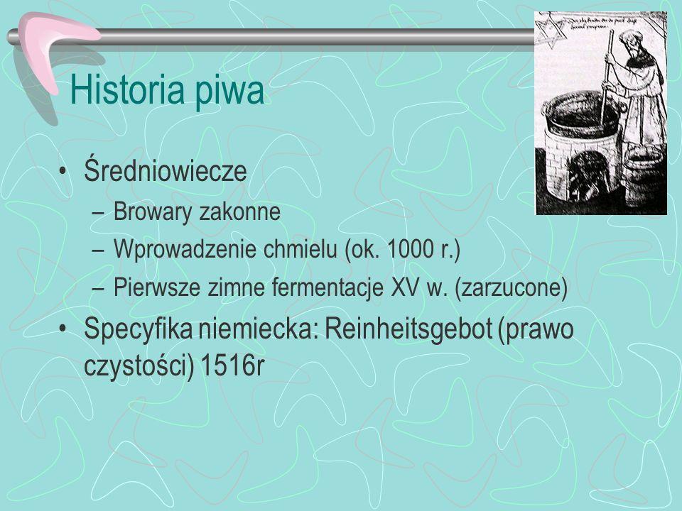 Historia piwa Średniowiecze –Browary zakonne –Wprowadzenie chmielu (ok. 1000 r.) –Pierwsze zimne fermentacje XV w. (zarzucone) Specyfika niemiecka: Re