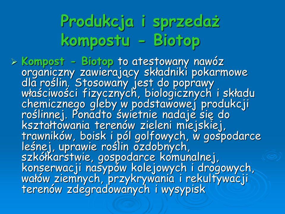 Produkcja i sprzedaż kompostu - Biotop Kompost - Biotop to atestowany nawóz organiczny zawierający składniki pokarmowe dla roślin. Stosowany jest do p