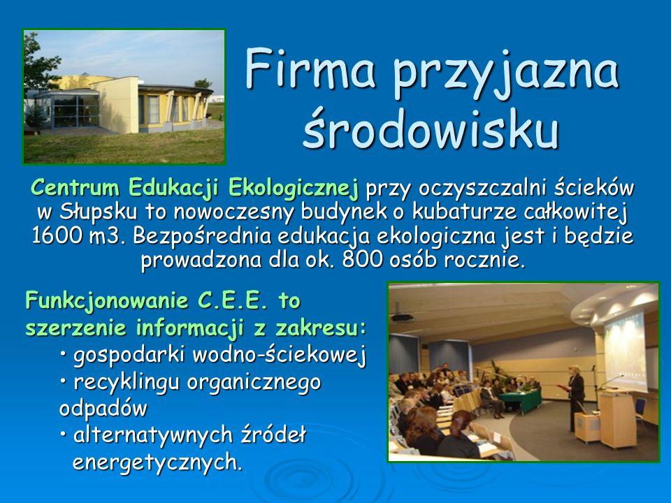 Firma przyjazna środowisku Centrum Edukacji Ekologicznej przy oczyszczalni ścieków w Słupsku to nowoczesny budynek o kubaturze całkowitej 1600 m3. Bez