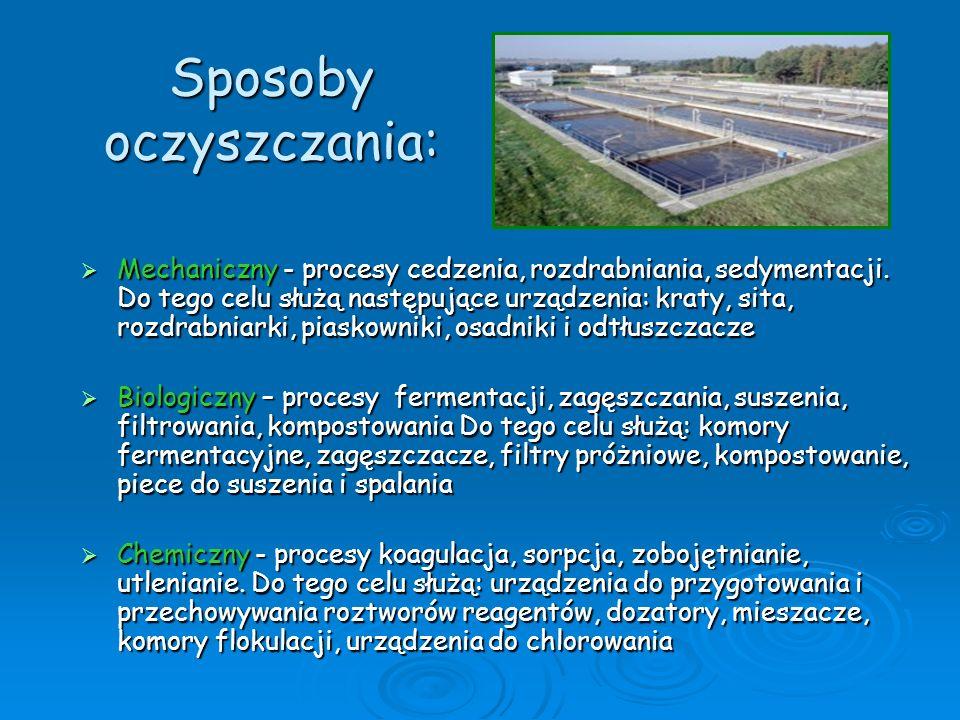 Poprawa jakości środowiska Zmodernizowana w latach 1996-1998 oczyszczalnia ścieków redukuje zanieczyszczenia zawarte w ściekach komunalnych w takim stopniu, że w rankingu najlepszych oczyszczalni w Polsce uzyskała pierwsze miejsce.