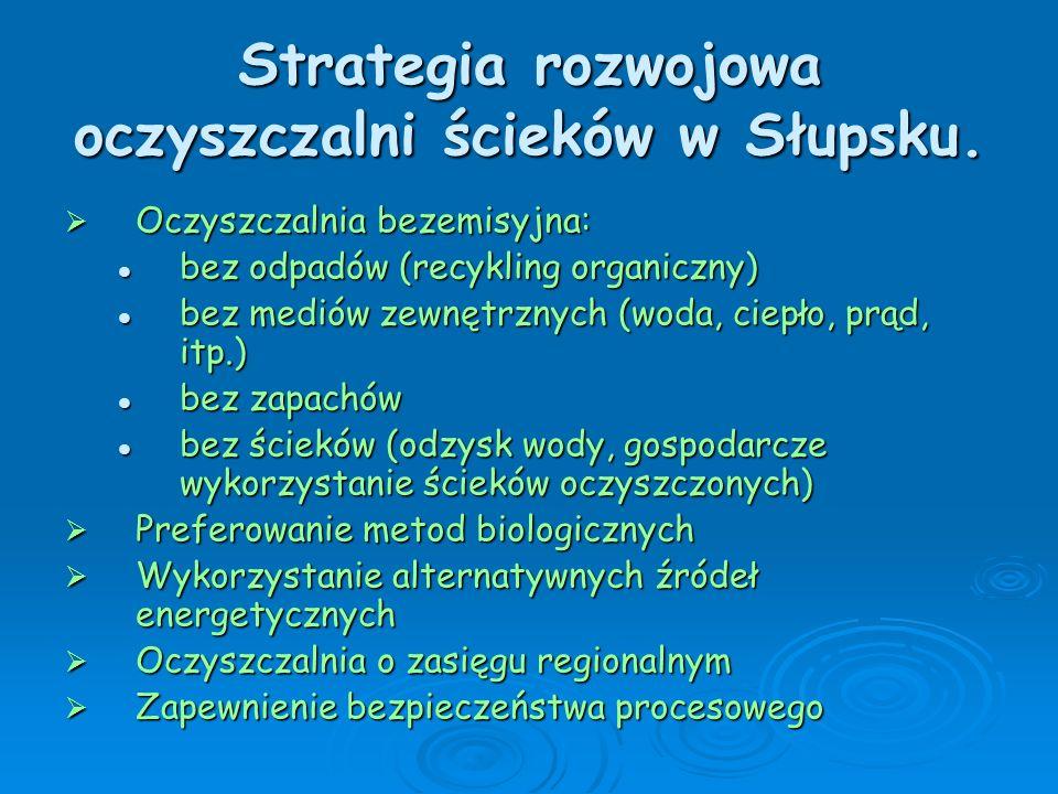 Strategia rozwojowa oczyszczalni ścieków w Słupsku. Oczyszczalnia bezemisyjna: Oczyszczalnia bezemisyjna: bez odpadów (recykling organiczny) bez odpad