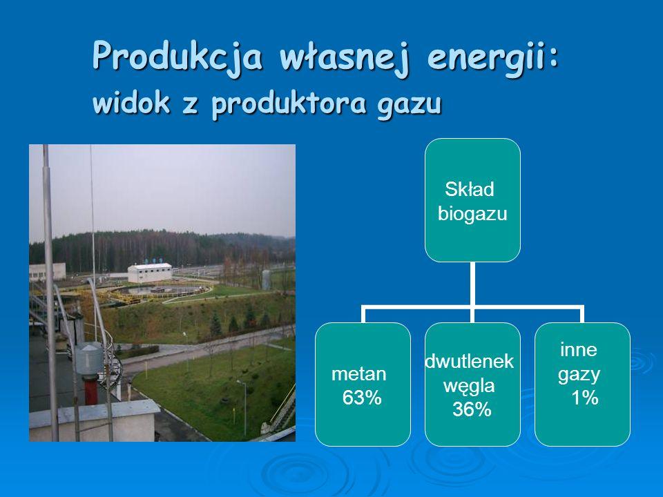 W Oczyszczalni istnieje mała elektrownia biogazowa, która dostarcza energii elektrycznej i cieplnej.
