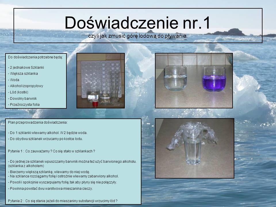 Doświadczenie nr.1 czyli jak zmusić górę lodową do pływania. Do doświadczenia potrzebne będą: - 2 jednakowe Szklanki - Większa szklanka - Woda - Alkoh