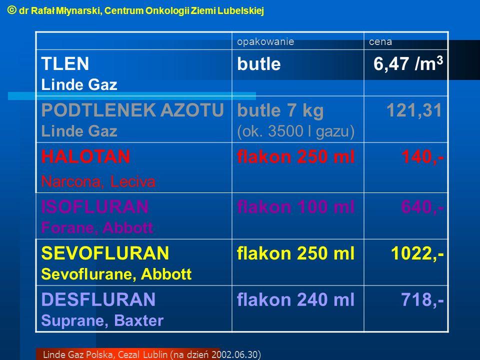 Linde Gaz Polska, Cezal Lublin (na dzień 2002.06.30) opakowaniecena TLEN Linde Gaz butle6,47 /m 3 PODTLENEK AZOTU Linde Gaz butle 7 kg (ok.