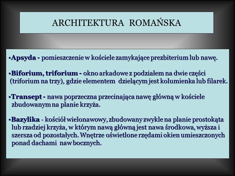 ARCHITEKTURA ROMAŃSKA Apsyda - pomieszczenie w kościele zamykające prezbiterium lub nawę.Apsyda - pomieszczenie w kościele zamykające prezbiterium lub nawę.
