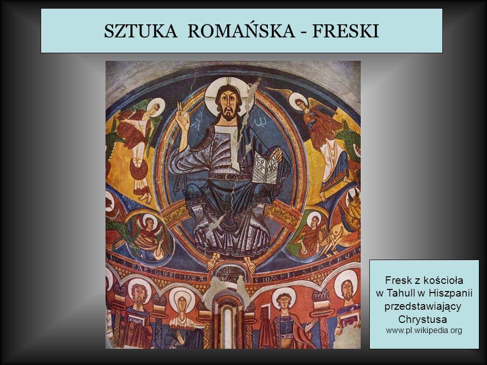 SZTUKA ROMAŃSKA - FRESKI Fresk z kościoła w Tahull w Hiszpanii przedstawiający Chrystusa www.pl.wikipedia.org