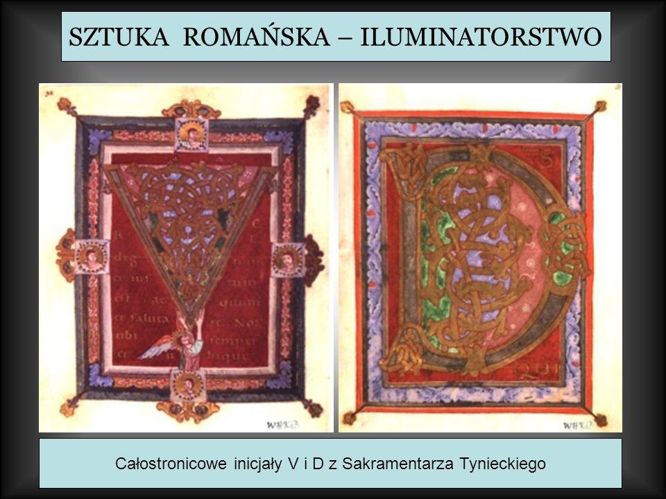 SZTUKA ROMAŃSKA – ILUMINATORSTWO Całostronicowe inicjały V i D z Sakramentarza Tynieckiego