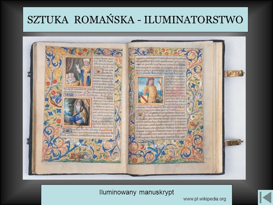 SZTUKA ROMAŃSKA - ILUMINATORSTWO Iluminowany manuskrypt www.pl.wikipedia.org