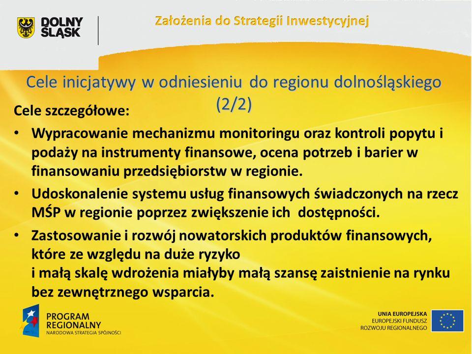 Cele szczegółowe: Wypracowanie mechanizmu monitoringu oraz kontroli popytu i podaży na instrumenty finansowe, ocena potrzeb i barier w finansowaniu przedsiębiorstw w regionie.