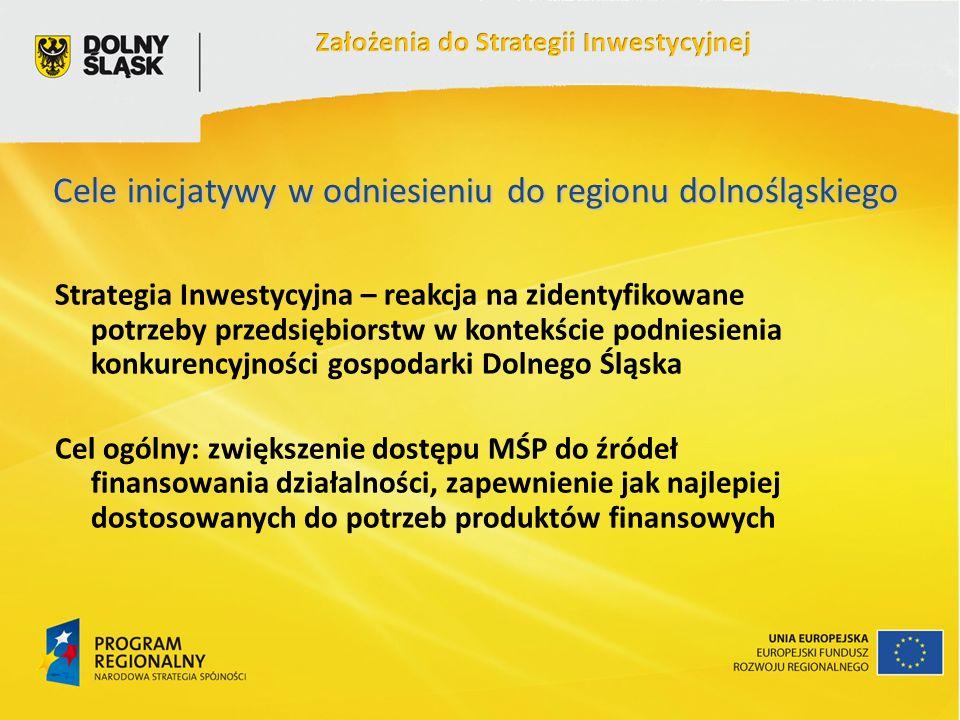 Cele inicjatywy w odniesieniu do regionu dolnośląskiego Strategia Inwestycyjna – reakcja na zidentyfikowane potrzeby przedsiębiorstw w kontekście podniesienia konkurencyjności gospodarki Dolnego Śląska Cel ogólny: zwiększenie dostępu MŚP do źródeł finansowania działalności, zapewnienie jak najlepiej dostosowanych do potrzeb produktów finansowych