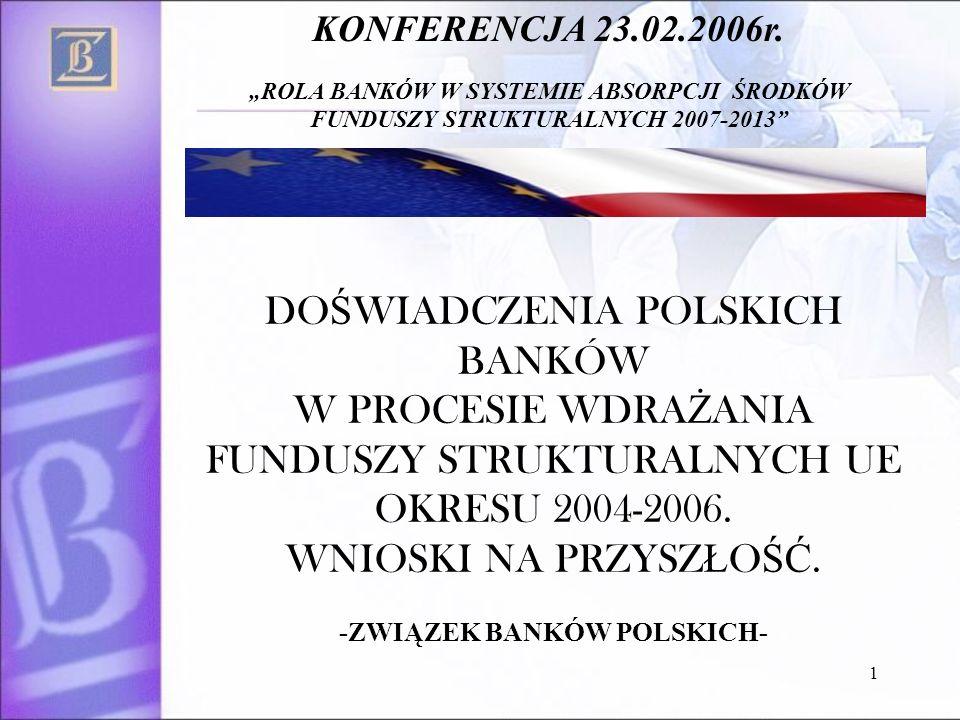 1 DO Ś WIADCZENIA POLSKICH BANKÓW W PROCESIE WDRA Ż ANIA FUNDUSZY STRUKTURALNYCH UE OKRESU 2004-2006.