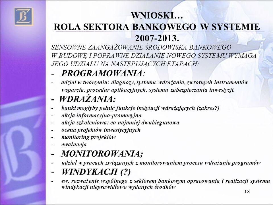 18 WNIOSKI… ROLA SEKTORA BANKOWEGO W SYSTEMIE 2007-2013.