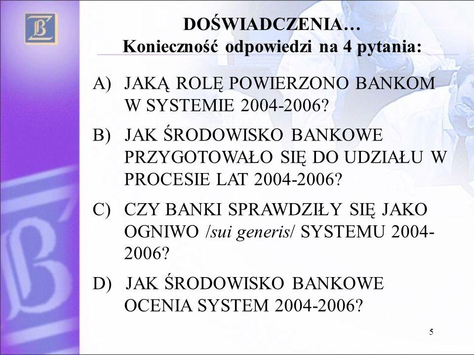 5 A)JAKĄ ROLĘ POWIERZONO BANKOM W SYSTEMIE 2004-2006.