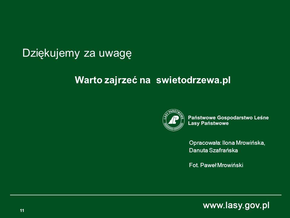 11 Opracowała: Ilona Mrowińska, Danuta Szafrańska Fot. Paweł Mrowiński Dziękujemy za uwagę Warto zajrzeć na swietodrzewa.pl