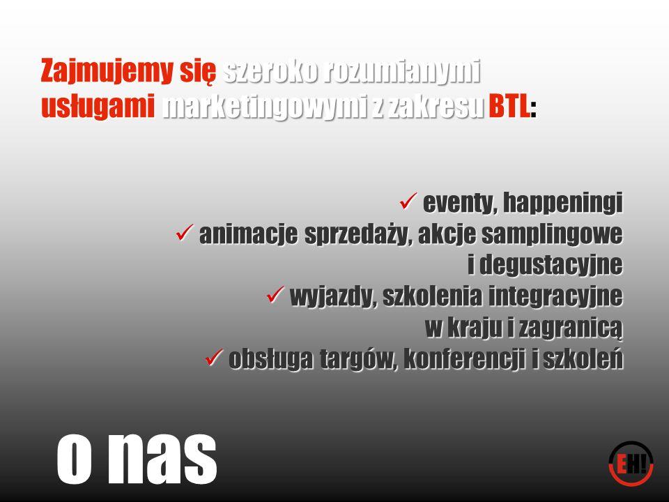 Zajmujemy się szeroko rozumianymi usługami marketingowymi z zakresu BTL: eventy, happeningi eventy, happeningi animacje sprzedaży, akcje samplingowe a
