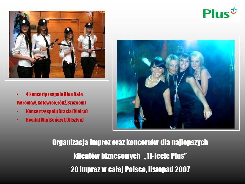 Organizacja imprez oraz koncertów dla najlepszych klientów biznesowych 11-lecie Plus 20 imprez w całej Polsce, listopad 2007 4 koncerty zespołu Blue C