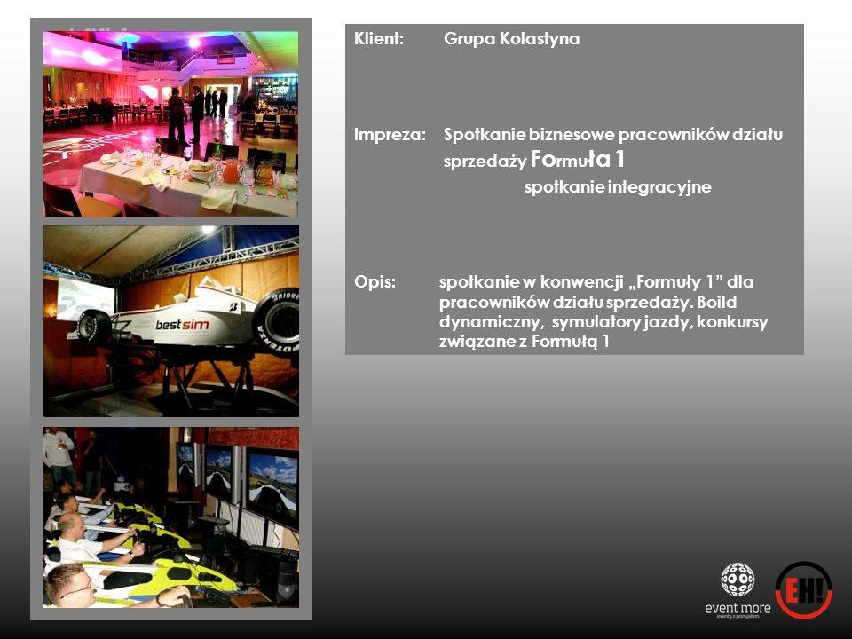 Klient: Grupa Kolastyna Impreza: Spotkanie biznesowe pracowników działu sprzedaży Fo rmu ła 1 spotkanie integracyjne Opis: spotkanie w konwencji Formu