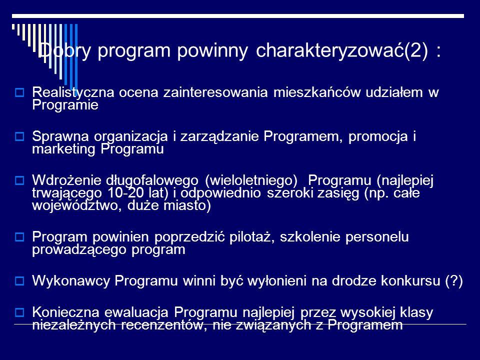 Dobry program powinny charakteryzować(2) : Realistyczna ocena zainteresowania mieszkańców udziałem w Programie Sprawna organizacja i zarządzanie Programem, promocja i marketing Programu Wdrożenie długofalowego (wieloletniego) Programu (najlepiej trwającego 10-20 lat) i odpowiednio szeroki zasięg (np.