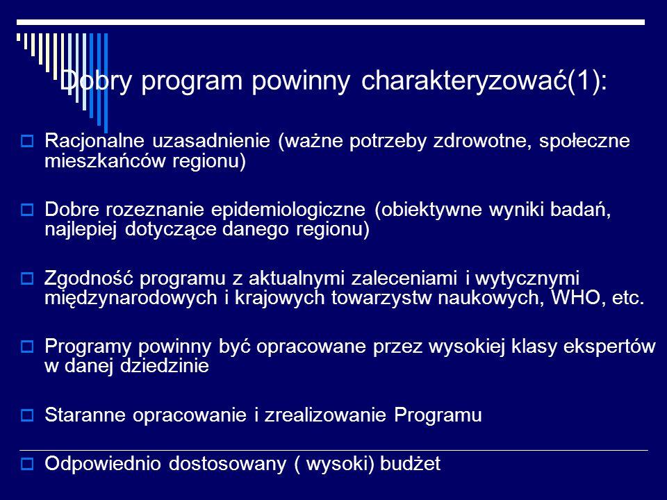 Dobry program powinny charakteryzować(1): Racjonalne uzasadnienie (ważne potrzeby zdrowotne, społeczne mieszkańców regionu) Dobre rozeznanie epidemiol