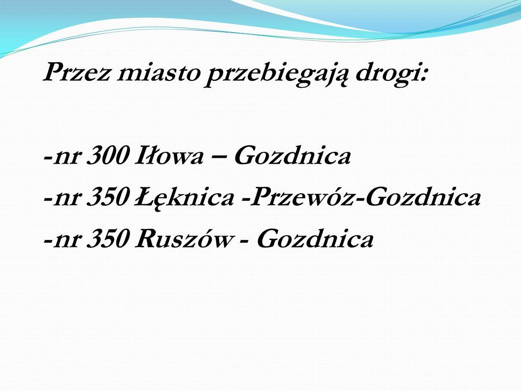 Przez miasto przebiegają drogi: -nr 300 Iłowa – Gozdnica -nr 350 Łęknica -Przewóz-Gozdnica -nr 350 Ruszów - Gozdnica