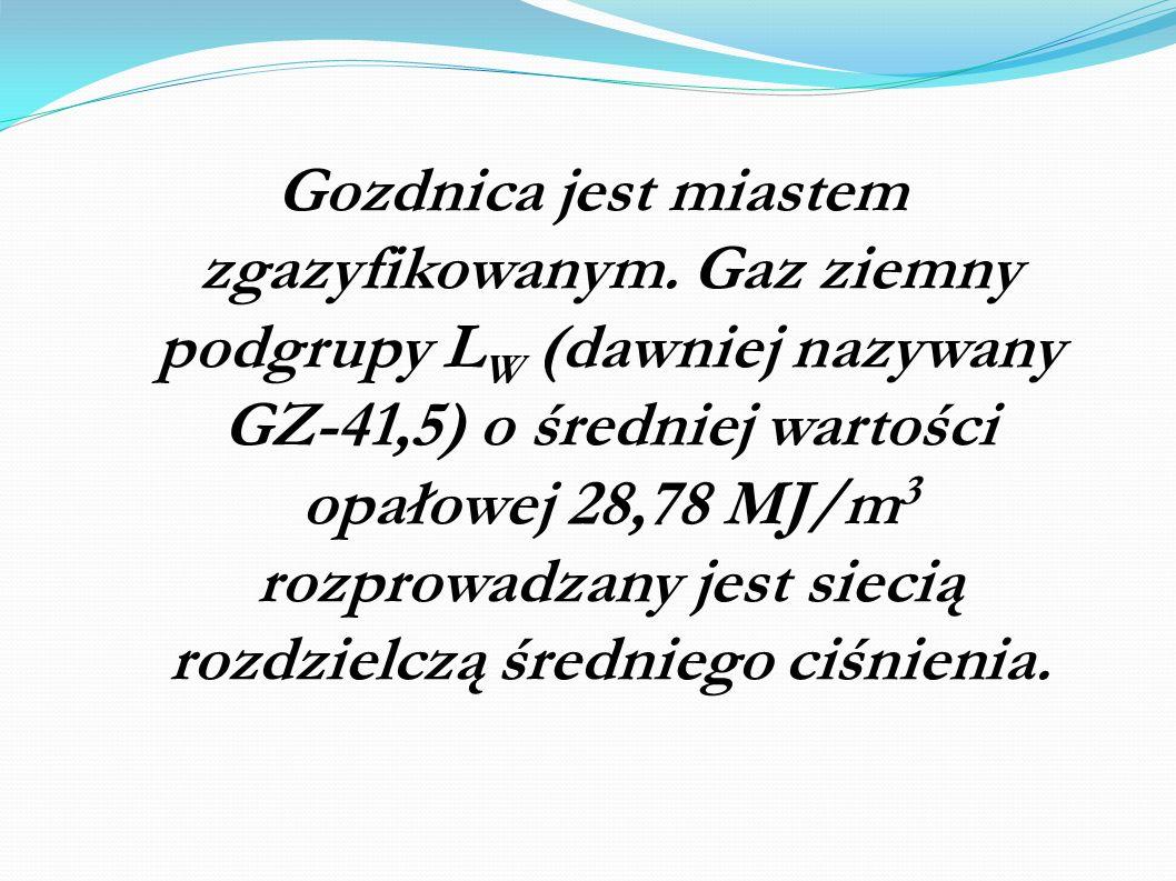Gozdnica jest miastem zgazyfikowanym. Gaz ziemny podgrupy L W (dawniej nazywany GZ-41,5) o średniej wartości opałowej 28,78 MJ/m 3 rozprowadzany jest