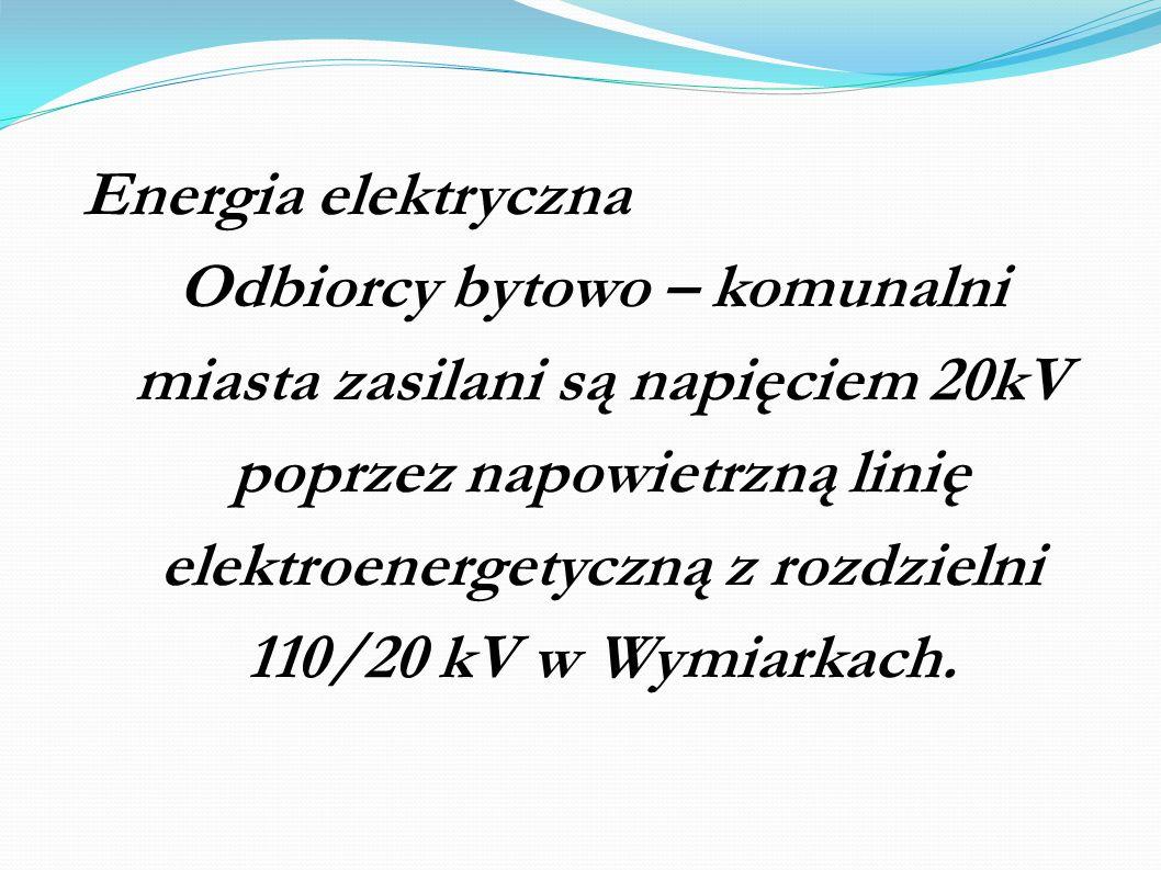 Energia elektryczna Odbiorcy bytowo – komunalni miasta zasilani są napięciem 20kV poprzez napowietrzną linię elektroenergetyczną z rozdzielni 110/20 k