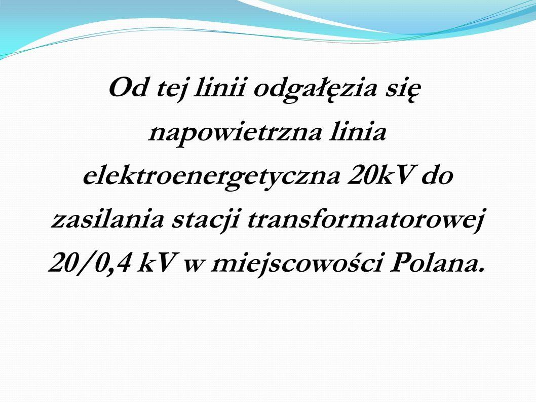 Od tej linii odgałęzia się napowietrzna linia elektroenergetyczna 20kV do zasilania stacji transformatorowej 20/0,4 kV w miejscowości Polana.