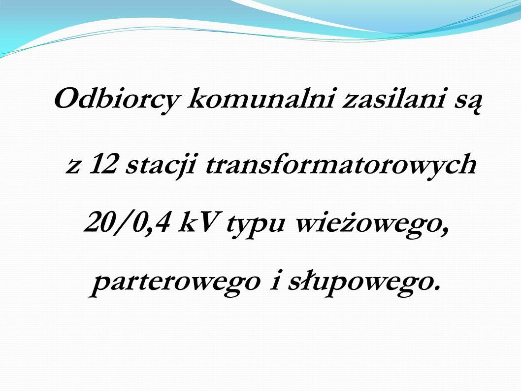 Odbiorcy komunalni zasilani są z 12 stacji transformatorowych 20/0,4 kV typu wieżowego, parterowego i słupowego.
