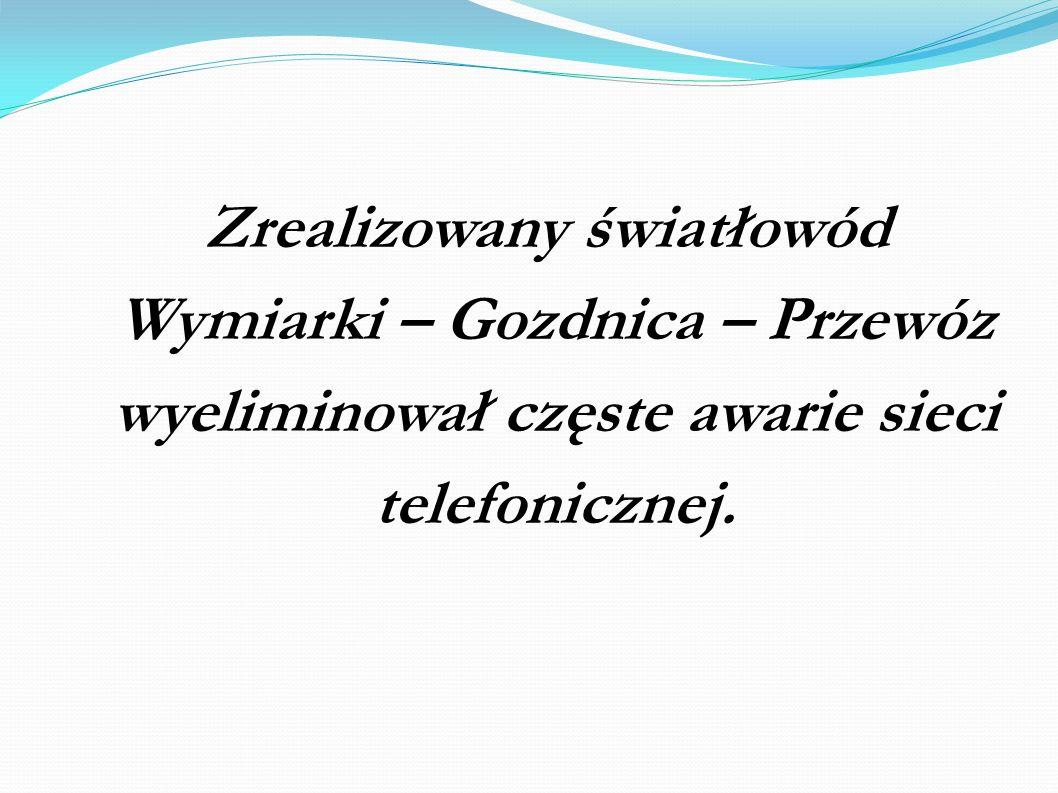 Zrealizowany światłowód Wymiarki – Gozdnica – Przewóz wyeliminował częste awarie sieci telefonicznej.