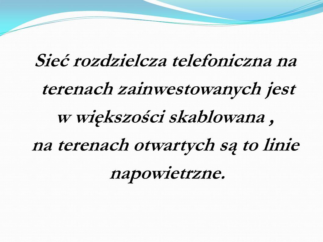 Sieć rozdzielcza telefoniczna na terenach zainwestowanych jest w większości skablowana, na terenach otwartych są to linie napowietrzne.