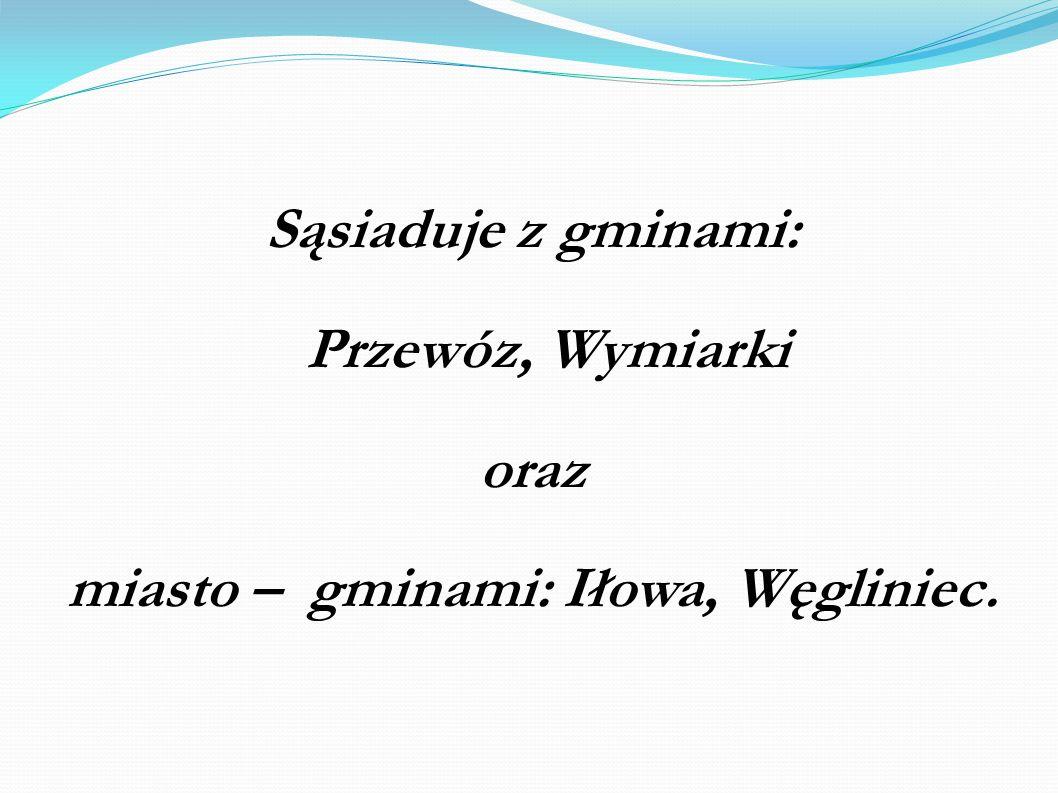 Sąsiaduje z gminami: Przewóz, Wymiarki oraz miasto – gminami: Iłowa, Węgliniec.