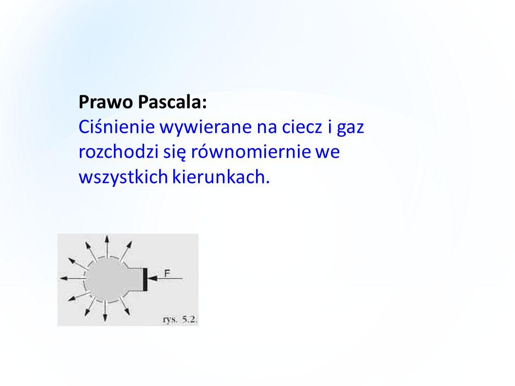 Prawo Pascala: Ciśnienie wywierane na ciecz i gaz rozchodzi się równomiernie we wszystkich kierunkach.