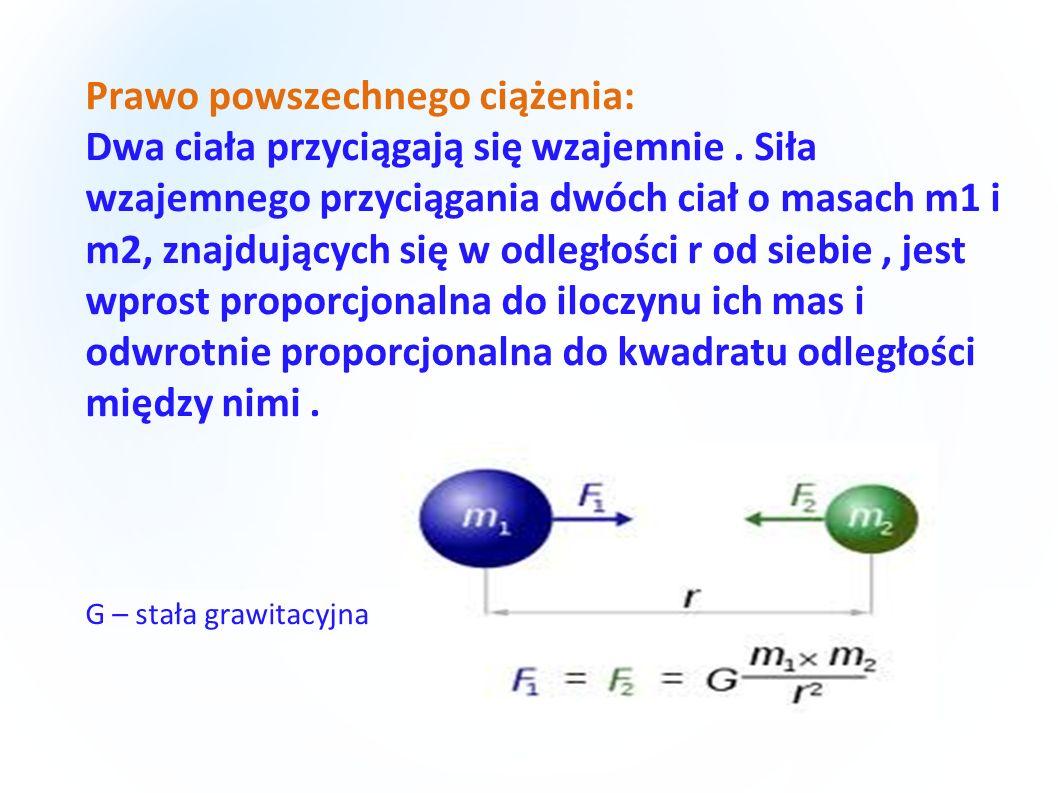 Prawo powszechnego ciążenia: Dwa ciała przyciągają się wzajemnie. Siła wzajemnego przyciągania dwóch ciał o masach m1 i m2, znajdujących się w odległo