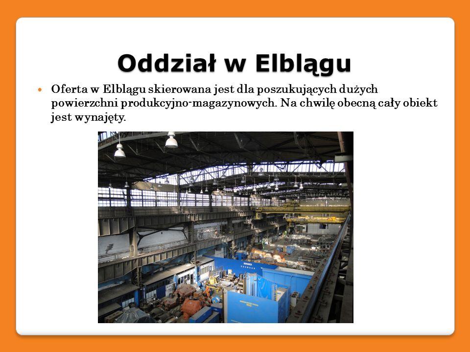 Oddział w Elblągu Oferta w Elblągu skierowana jest dla poszukujących dużych powierzchni produkcyjno-magazynowych. Na chwilę obecną cały obiekt jest wy