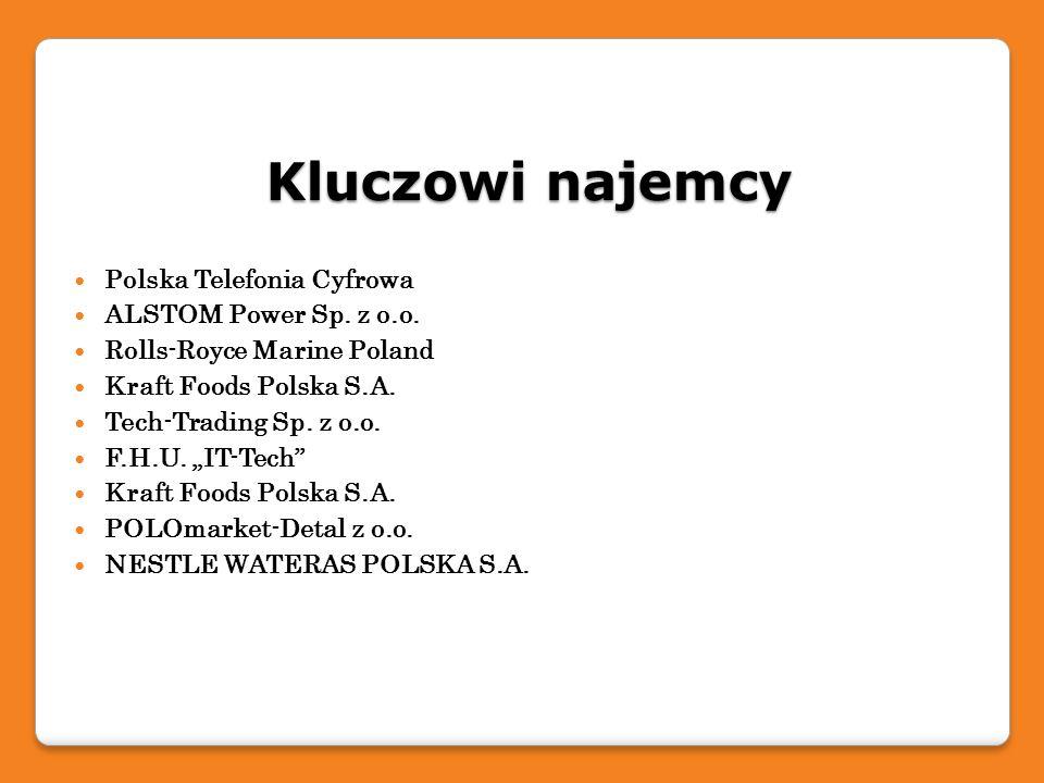 Kluczowi najemcy Polska Telefonia Cyfrowa ALSTOM Power Sp. z o.o. Rolls-Royce Marine Poland Kraft Foods Polska S.A. Tech-Trading Sp. z o.o. F.H.U. IT-